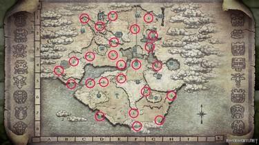 Shadow of the Colossus (2018): Карта со святынями 1